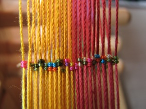 Inkle heddles rainbow sprinkles on pink