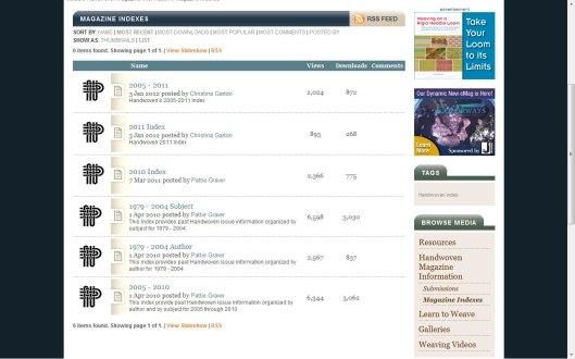 Handwoven Magazine Inkle Index